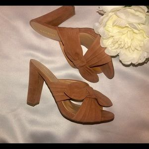 Tan brown faux suede Bow Mules